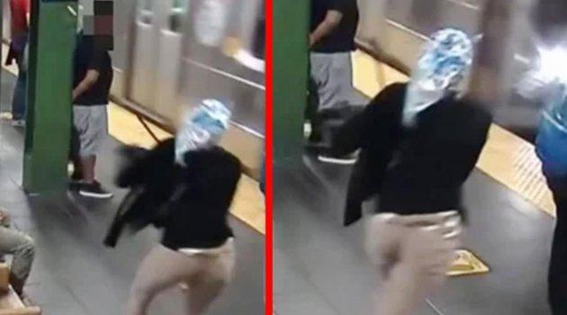 ABD'de durakta bekleyen kadını hızla gelen metronun önüne böyle attı