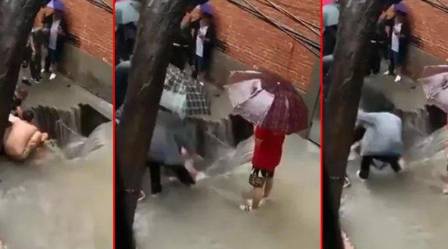 Sele teslim olan Çin'de dehşet anları!