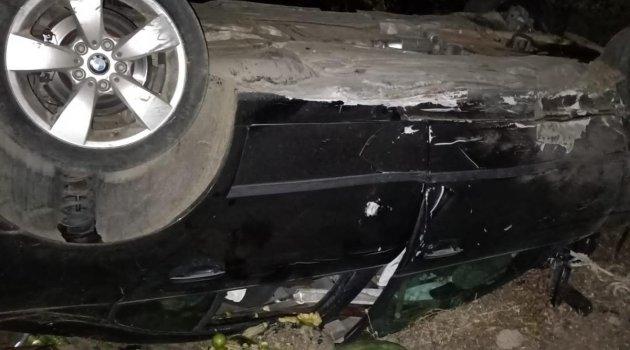 Seydişehir'de devrilen otomobildeki iki kişi yaralandı